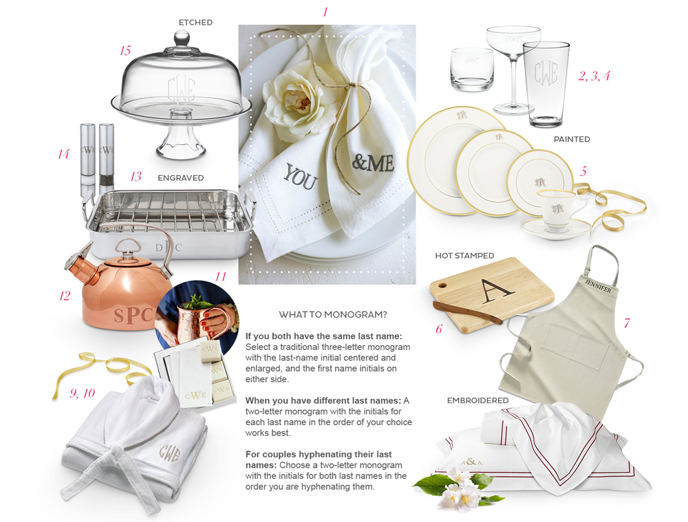 Monogram essential wedding gifts from Williams-Sonoma