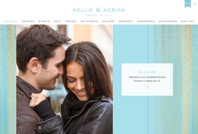 Soft Blue Spun Gold multi-pages website layout