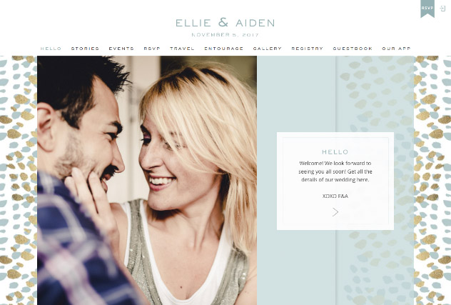 Brushed Glam Cerulean multi-pages website layout
