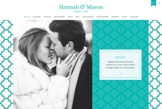 Turquoise Quatrefoil multi-pages website layout