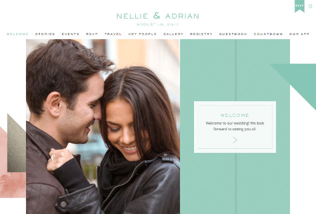 Marble Colorblock multi-pages website layout