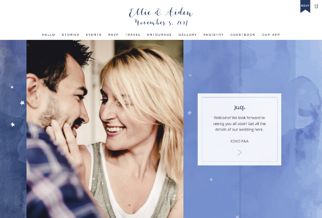 Starry Nights in Watercolor multi-pages website layout