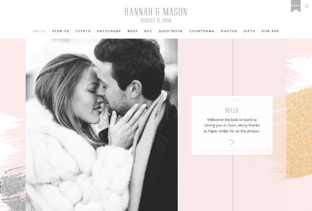 Brushed Glitter - Rose multi-pages website layout