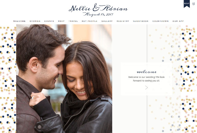 Confetti Blush and Navy multi-pages website layout