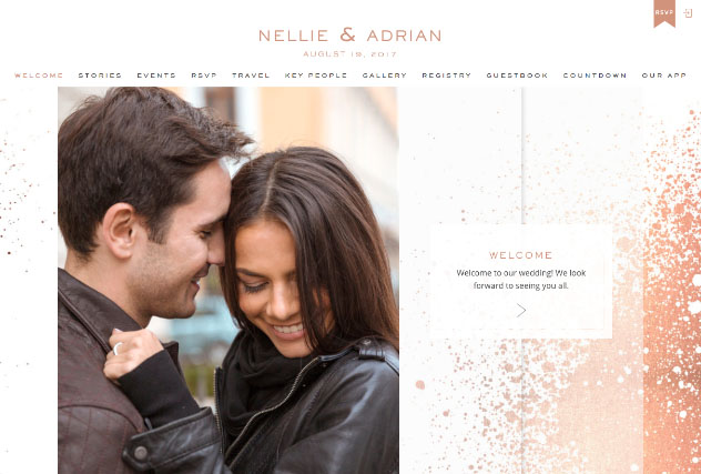 Rose Gold Splashes multi-pages website layout