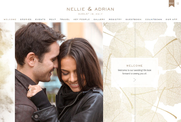 Gold leaves multi-pages website layout