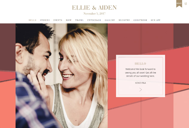 Sunset Colorblock multi-pages website layout