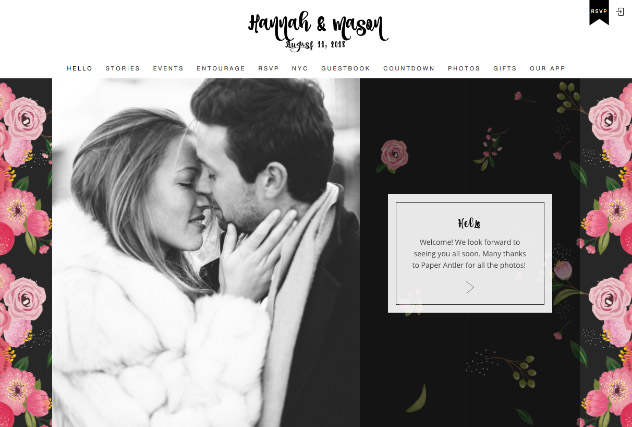 Noir Painted Flowers multi-pages website layout
