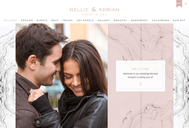 Tuscan marble rose multi-pages website layout