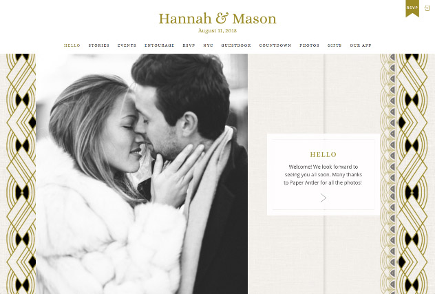 Glitzy Deco Gold and Black multi-pages website layout