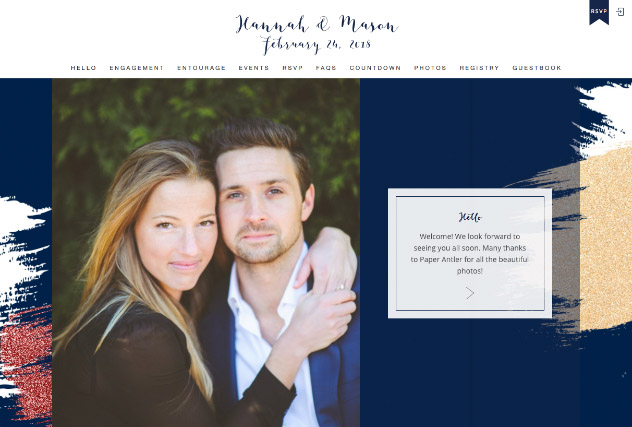 Brushed Glitter - Midnight Blue and Wine multi-pages website layout