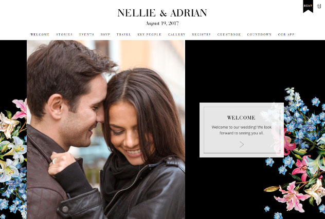 Noir Petite multi-pages website layout