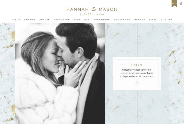 Gold Veined Marble - Sky multi-pages website layout