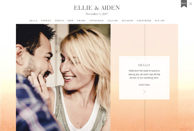 Ombre Peach multi-pages website layout