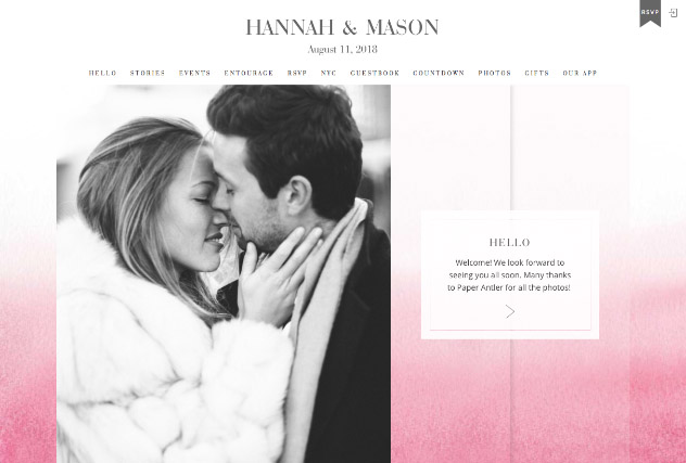Ombre Blush multi-pages website layout