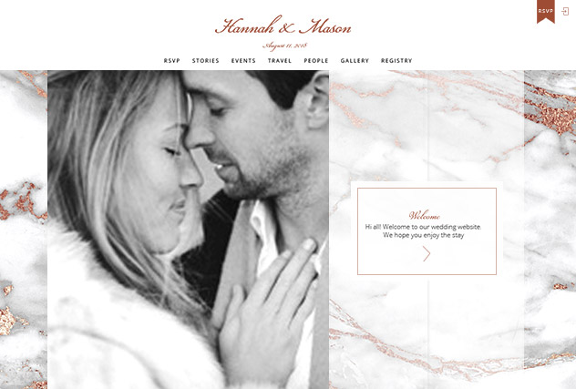 Rosegold Marble multi-pages website layout
