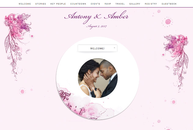 Painterly Passion Pink 2 single page website layout