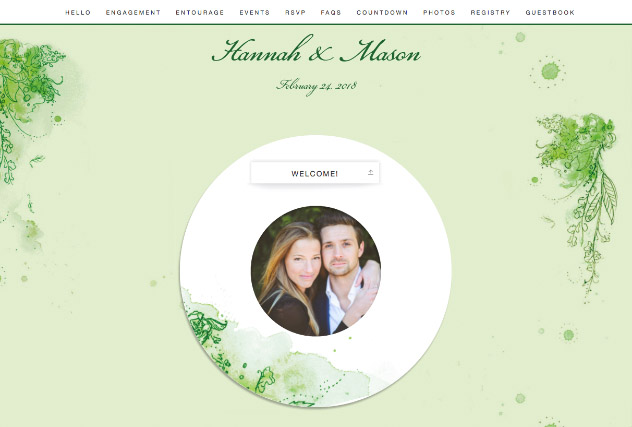 Painterly Passion green single page website layout
