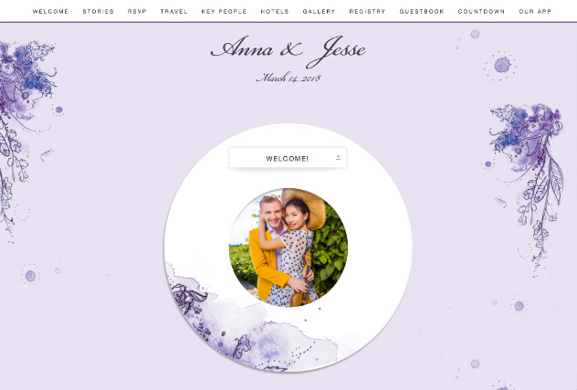 Painterly Passion Purple single page website layout