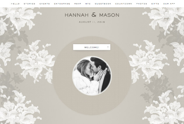 Natural Lace by Carolina Herrera single page website layout