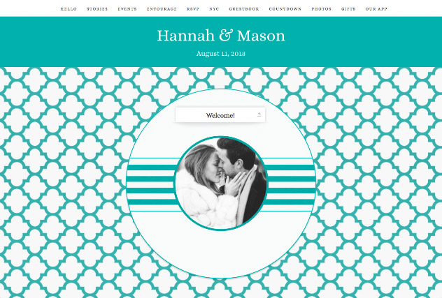 Turquoise Quatrefoil single page website layout