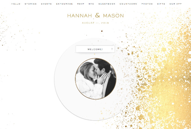 Gold Splashes single page website layout