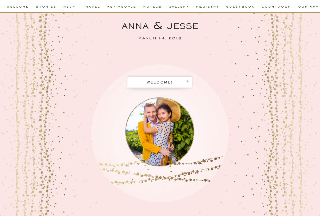 Glitzy String Lights Pink single page website layout