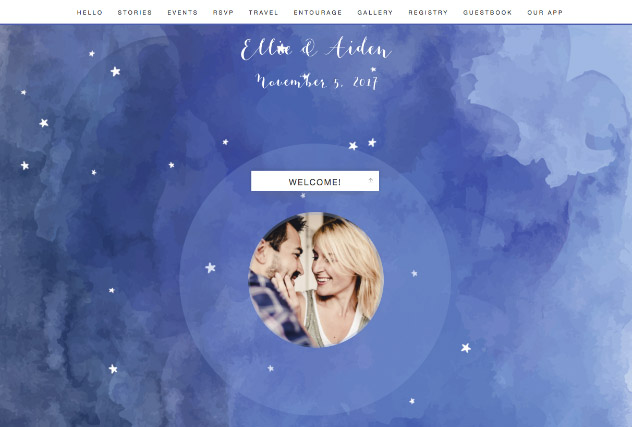 Starry Nights in Watercolor single page website layout