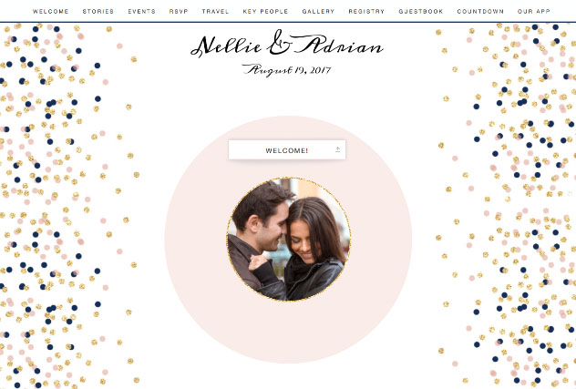 Confetti Blush and Navy single page website layout