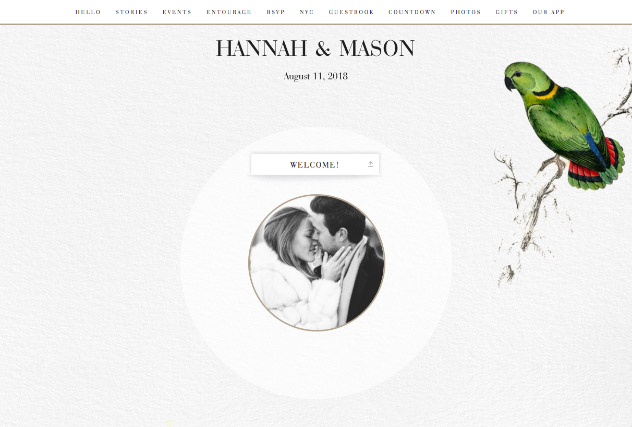 Vintage Lovebirds single page website layout
