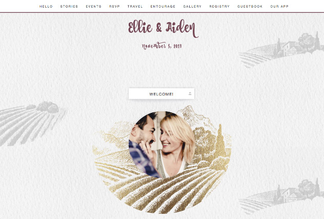 Rustic Vineyard - Gold single page website layout