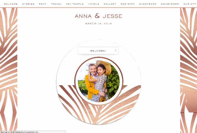 Resort Rose Gold single page website layout