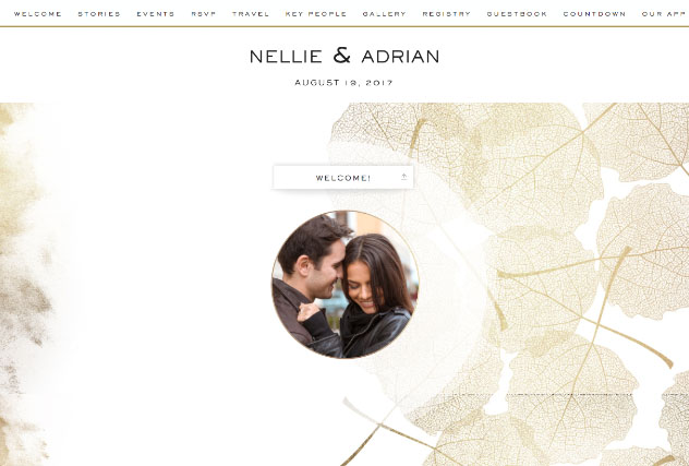 Gold leaves single page website layout