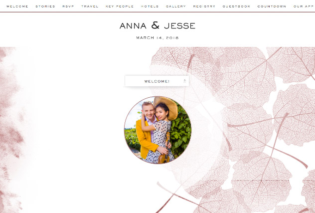 Rose Gold leaves single page website layout
