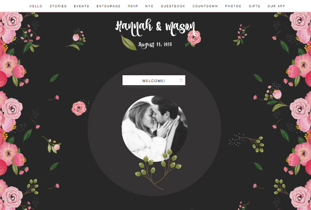 Noir Painted Flowers single page website layout