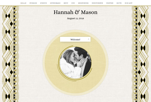 Glitzy Deco Gold and Black single page website layout