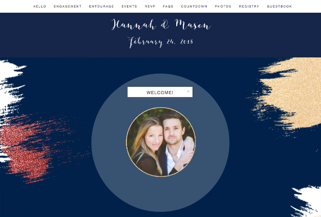 Brushed Glitter - Midnight Blue and Wine single page website layout