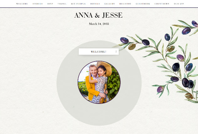 Painted Olives single page website layout