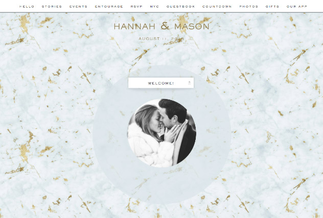 Gold Veined Marble - Sky single page website layout
