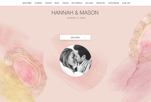Blush Agate single page website layout