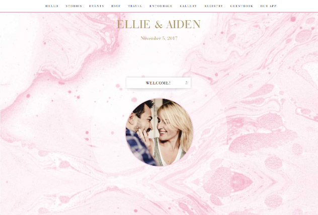 Blush Watercolor single page website layout