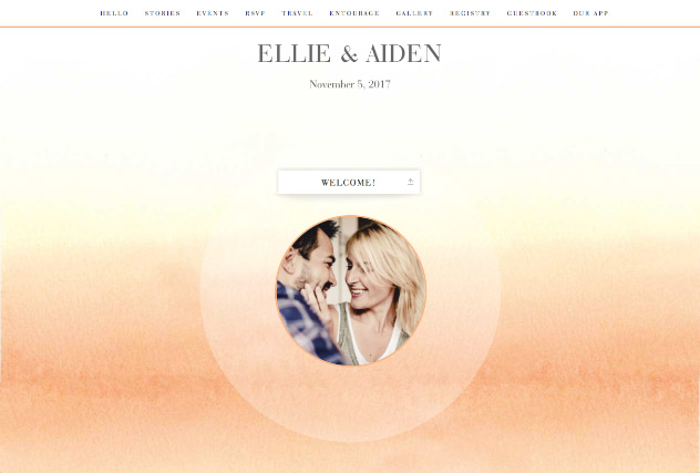Ombre Peach single page website layout