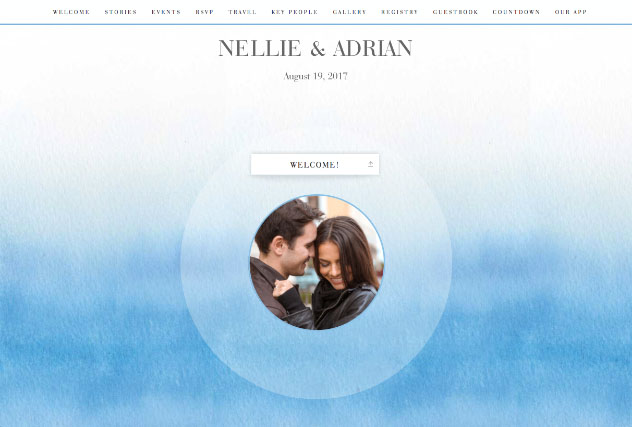 Ombre Blue single page website layout
