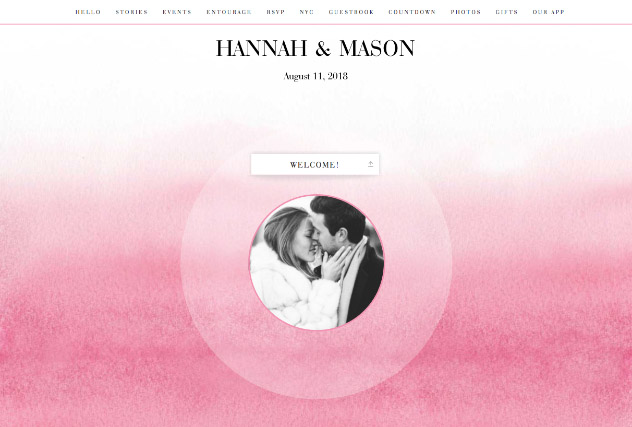 Ombre Blush single page website layout