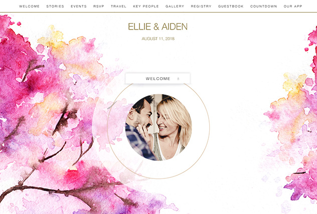 Pink Branches single page website layout
