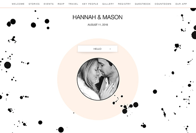 Ink Drops single page website layout