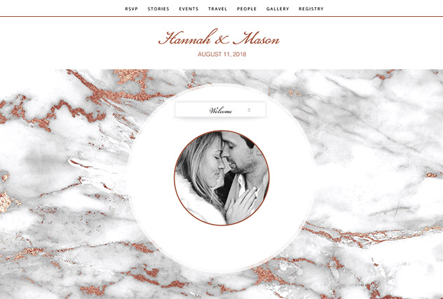 Rosegold Marble single page website layout