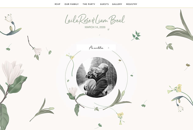 Timeless Love single page website layout